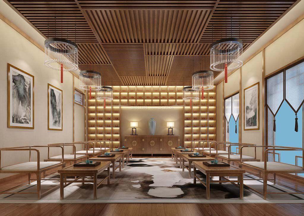 茶楼包间木质吊顶装修效果图片