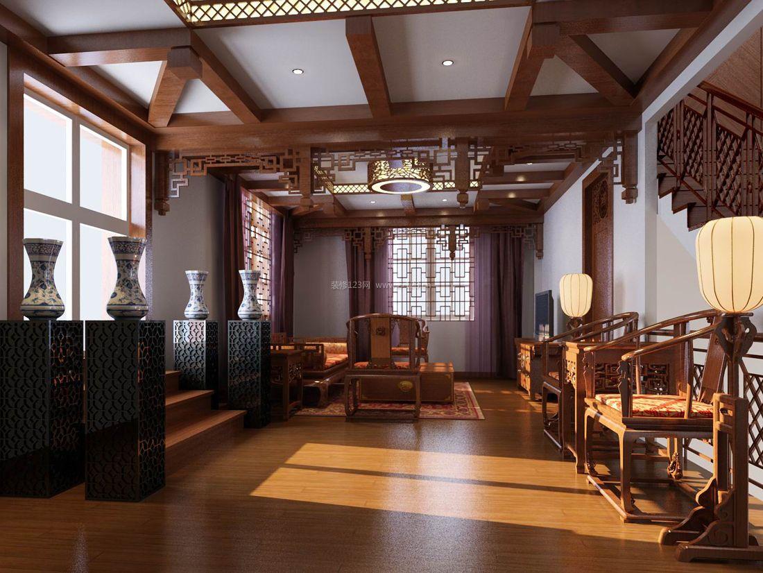 中式豪华别墅家居客厅装修效果图
