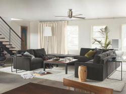 現代復式客廳布藝沙發裝修效果圖片