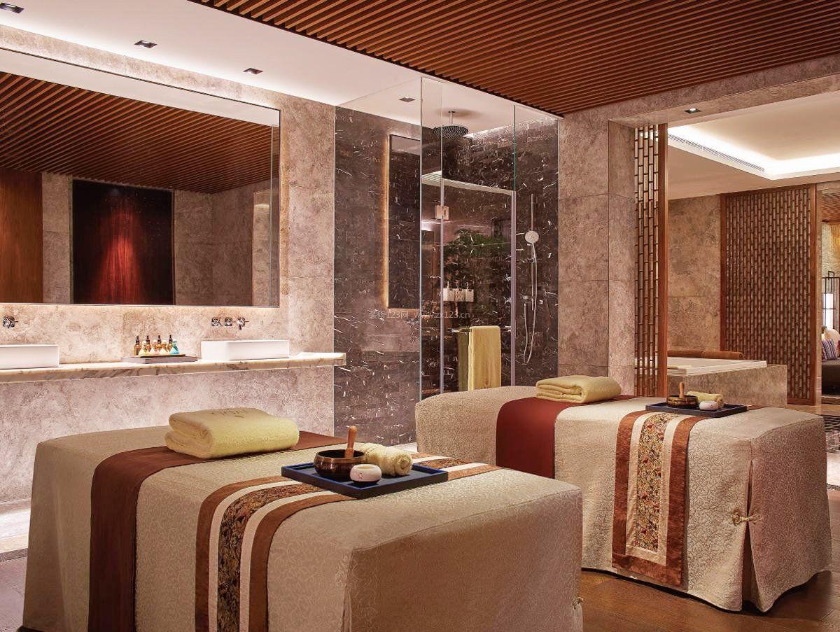 美容院室内大理石墙面装修效果图片_装修123