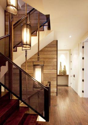 美式乡村风格楼梯 三层别墅效果图大全