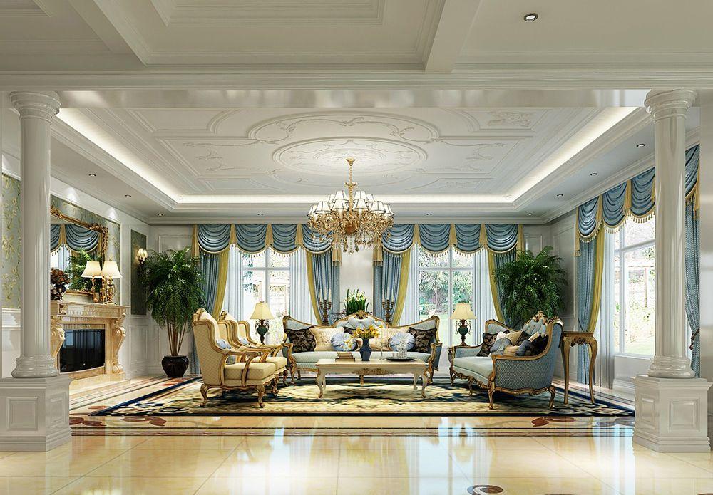 法式 别墅 效果图客厅