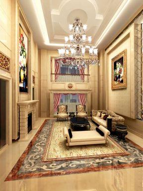 欧式复式别墅客厅吊顶装修设计效果图图片