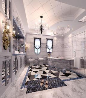 法式风格别墅 大理石包裹浴缸装修效果图片