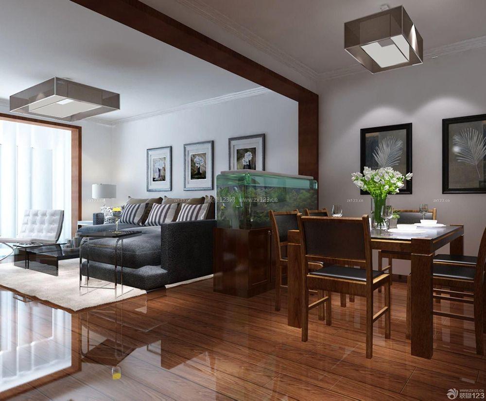 新中式客厅隔断鱼缸装修效果图片图片