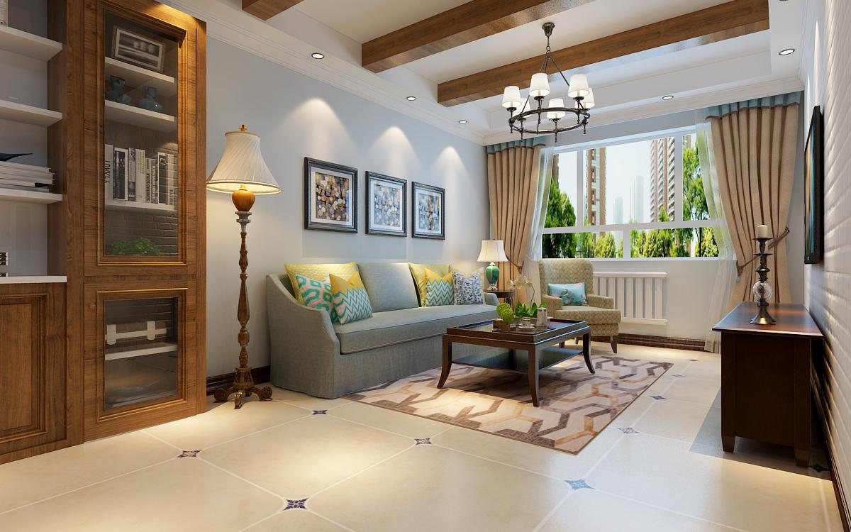 现代简约客厅木龙骨石膏板吊顶装修图
