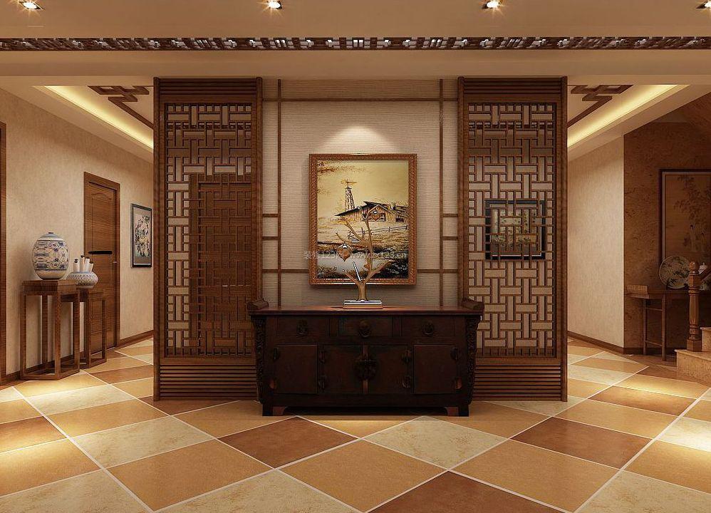 新中式客厅隔断鱼缸装修效果图片_装修123效果图图片