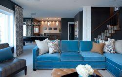 現代復式客廳布藝沙發裝修效果圖片大全