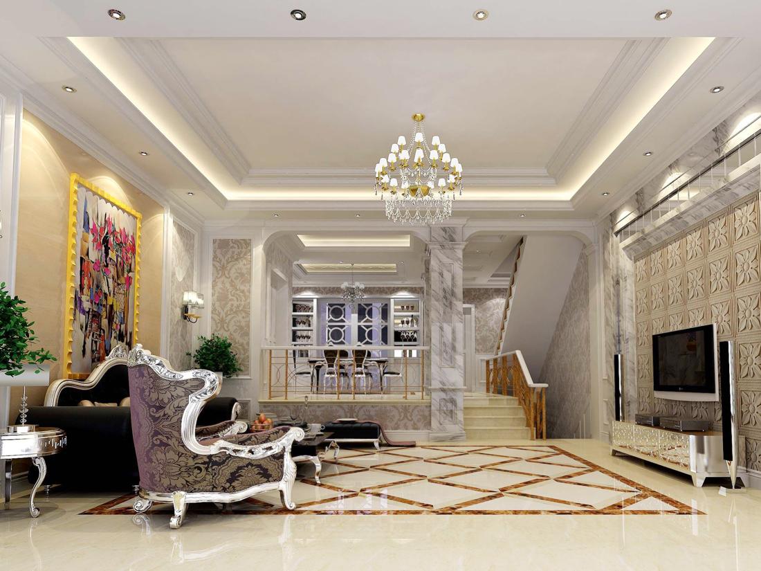 简欧别墅客厅设计拼花地砖装修效果图片