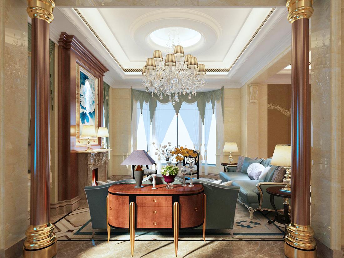 简欧别墅客厅设计石膏板吊顶装修效果图片