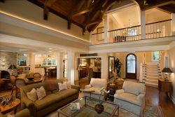復式別墅簡歐客廳布藝沙發裝修設計效果圖片
