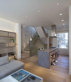 現代家裝風格復式別墅客廳布藝沙發圖片大全