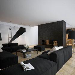 復式別墅黑白現代簡約客廳布藝沙發裝修