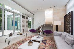 復式別墅現代簡約時尚客廳布藝沙發裝修圖