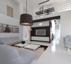 復式別墅現代室內客廳布藝沙發設計