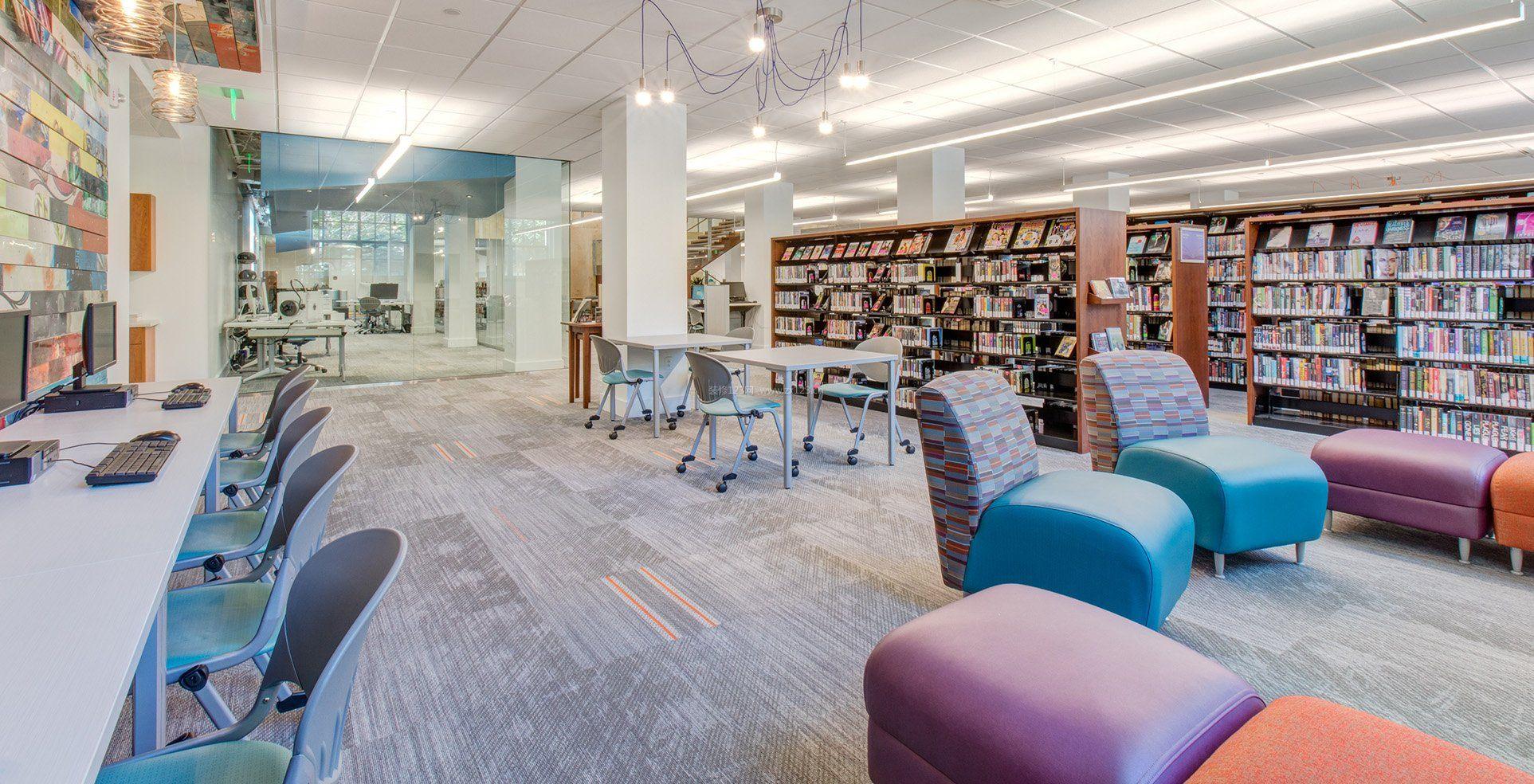 室内书架图书馆设计效果图片