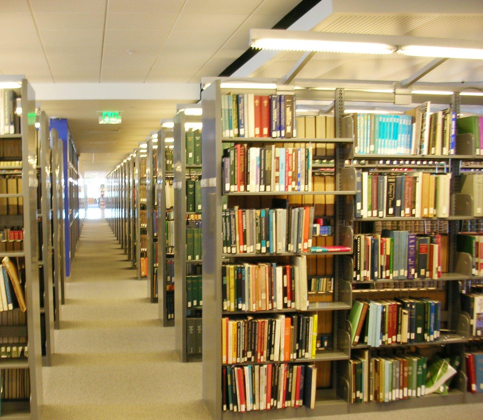 大型图书馆室内书架装饰设计效果图