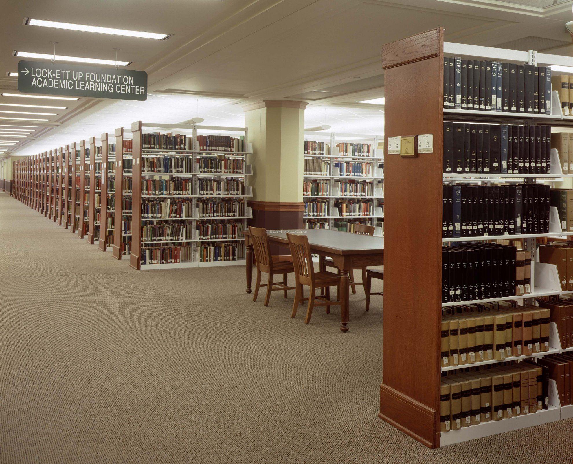 室内大型图书馆书架设计效果图案例
