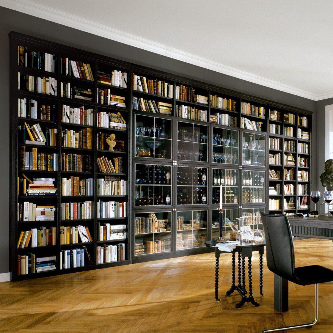 简约风格图书馆设计书架效果图片