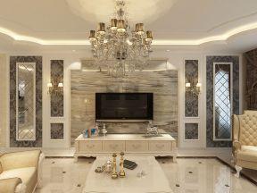 客廳電視墻裝修設計 白色電視柜