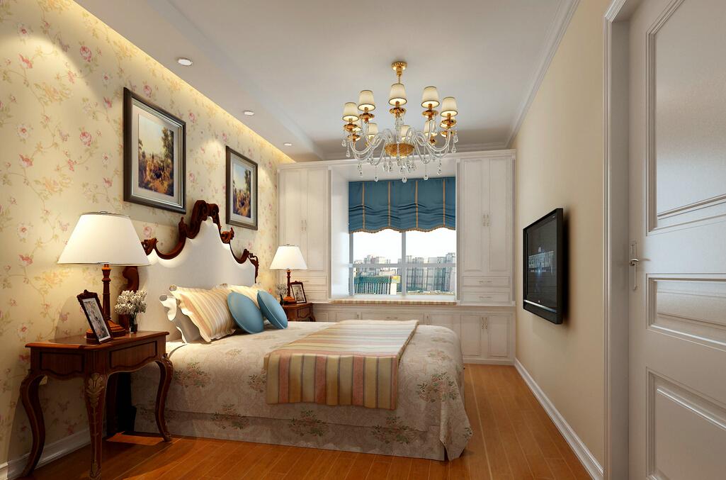 家装欧式卧室银色墙面装修效果图片
