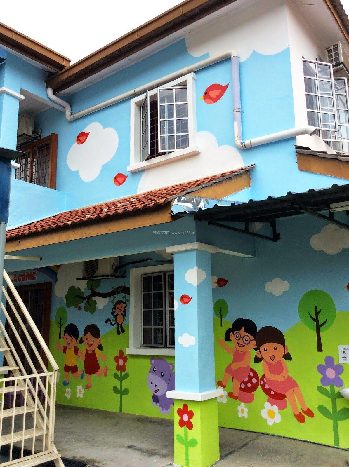 幼儿园外观墙绘装修效果图片