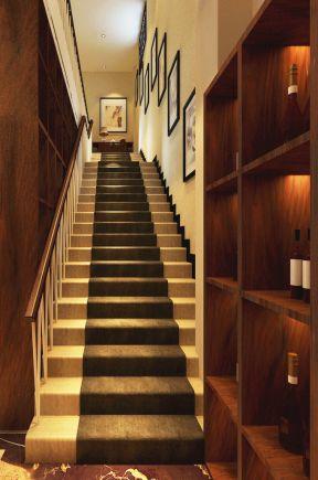 现代中式会所 室内楼梯扶手装修效果图