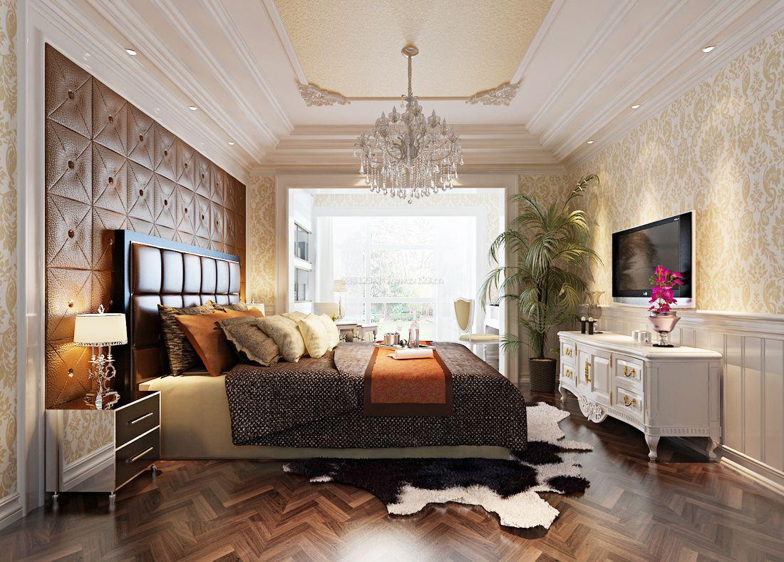 欧式别墅装修卧室样板房壁纸图片