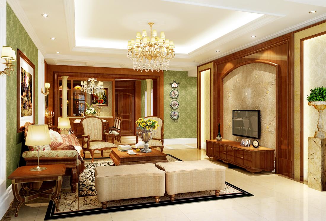 美式简约风格房子客厅设计装修图片图片