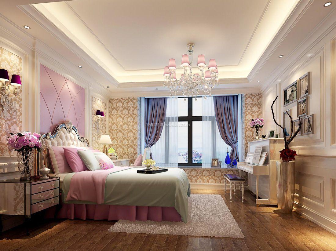 最新欧式女生卧室床头背景墙装修效果图片图片