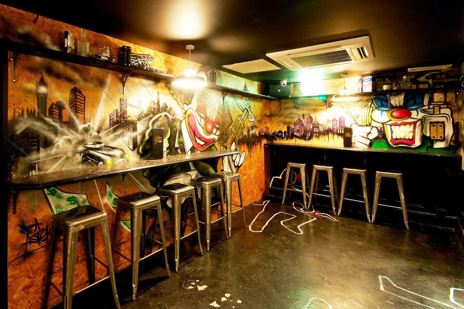 小型酒吧墙绘设计效果图片_装修123效果图