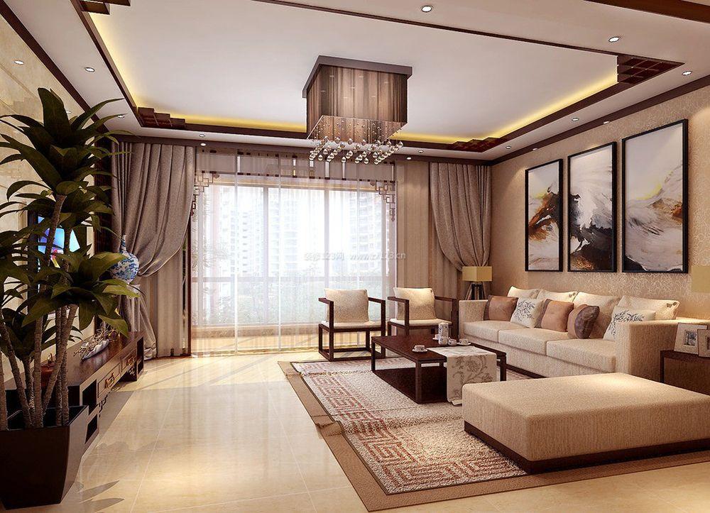中式家装客厅阳台窗帘效果图_装修123效果图