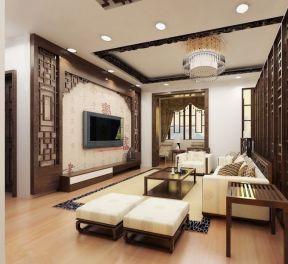 中式客厅电视背景墙装修效果图 120平米房子装修图片