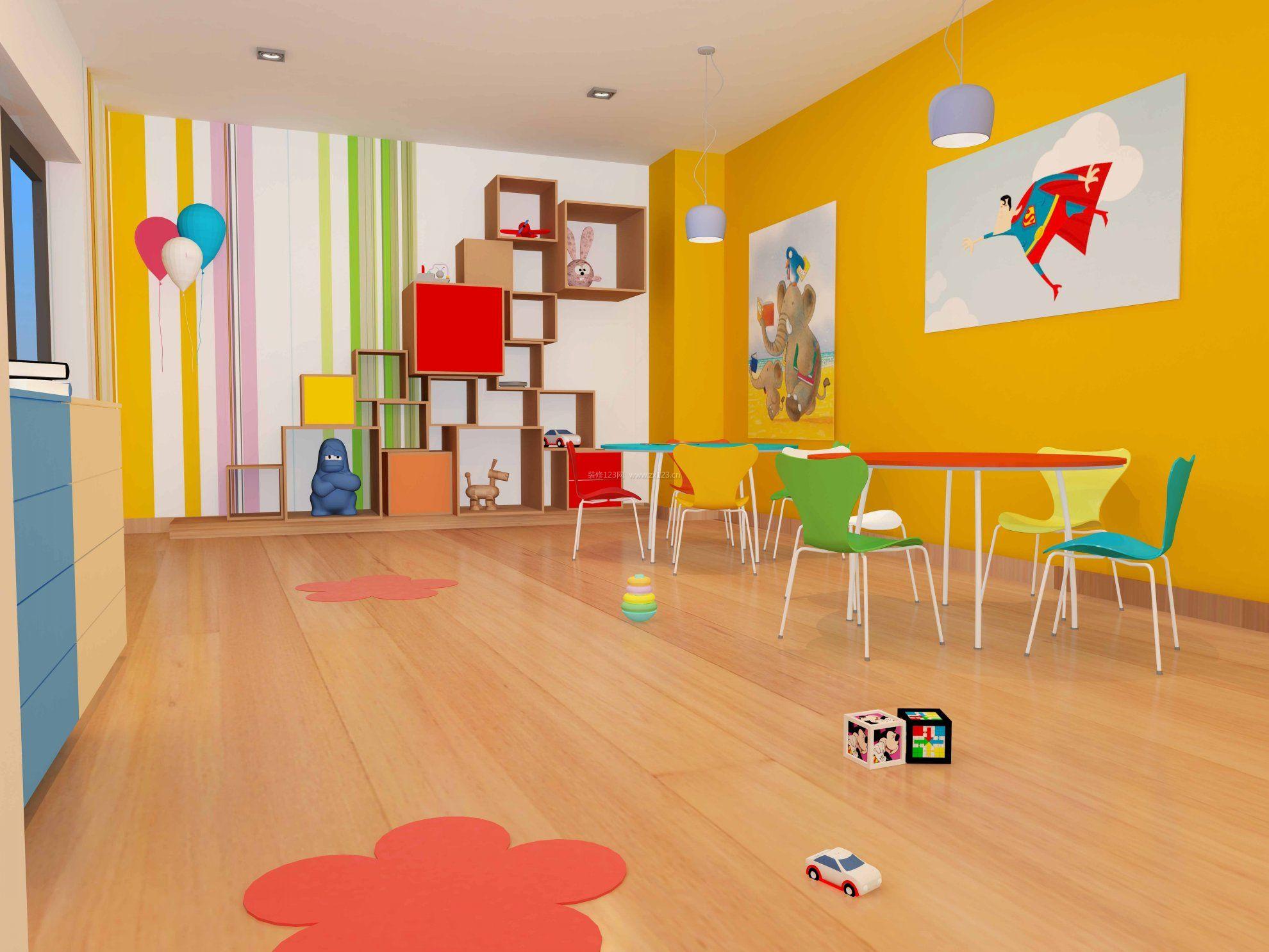 特色幼儿园室内装修浅色木地板效果图