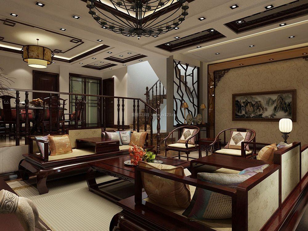 中式别墅客厅木楼梯扶手装修设计效果图