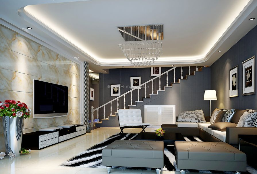 现代风格跃层客厅电视背景墙装修效果图