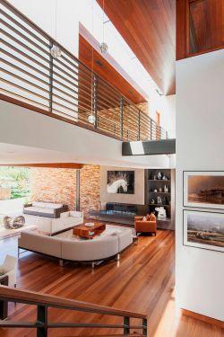 現代復式樓客廳布藝沙發裝修效果圖片