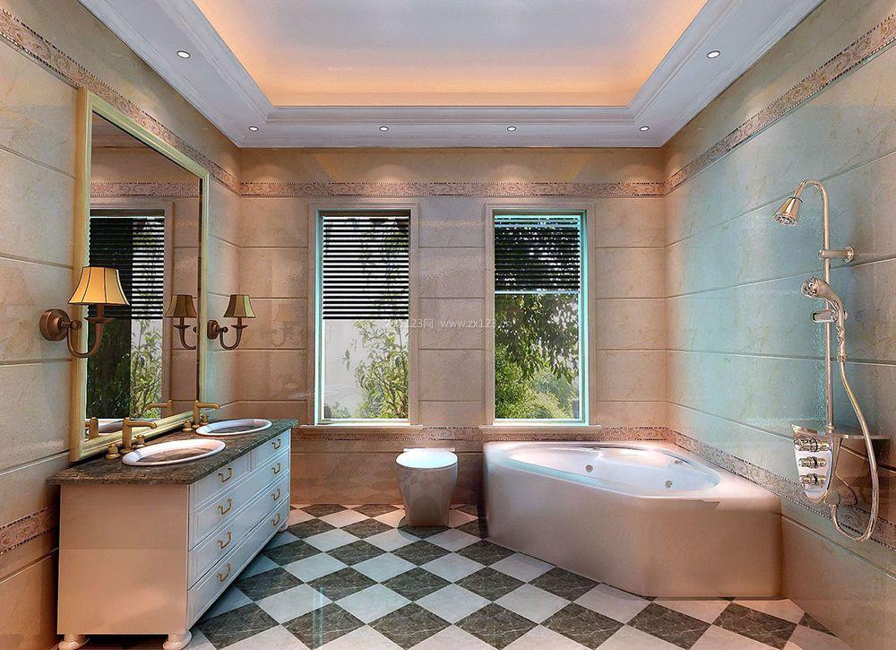 简约家装卫生间扇形浴缸装修效果图片