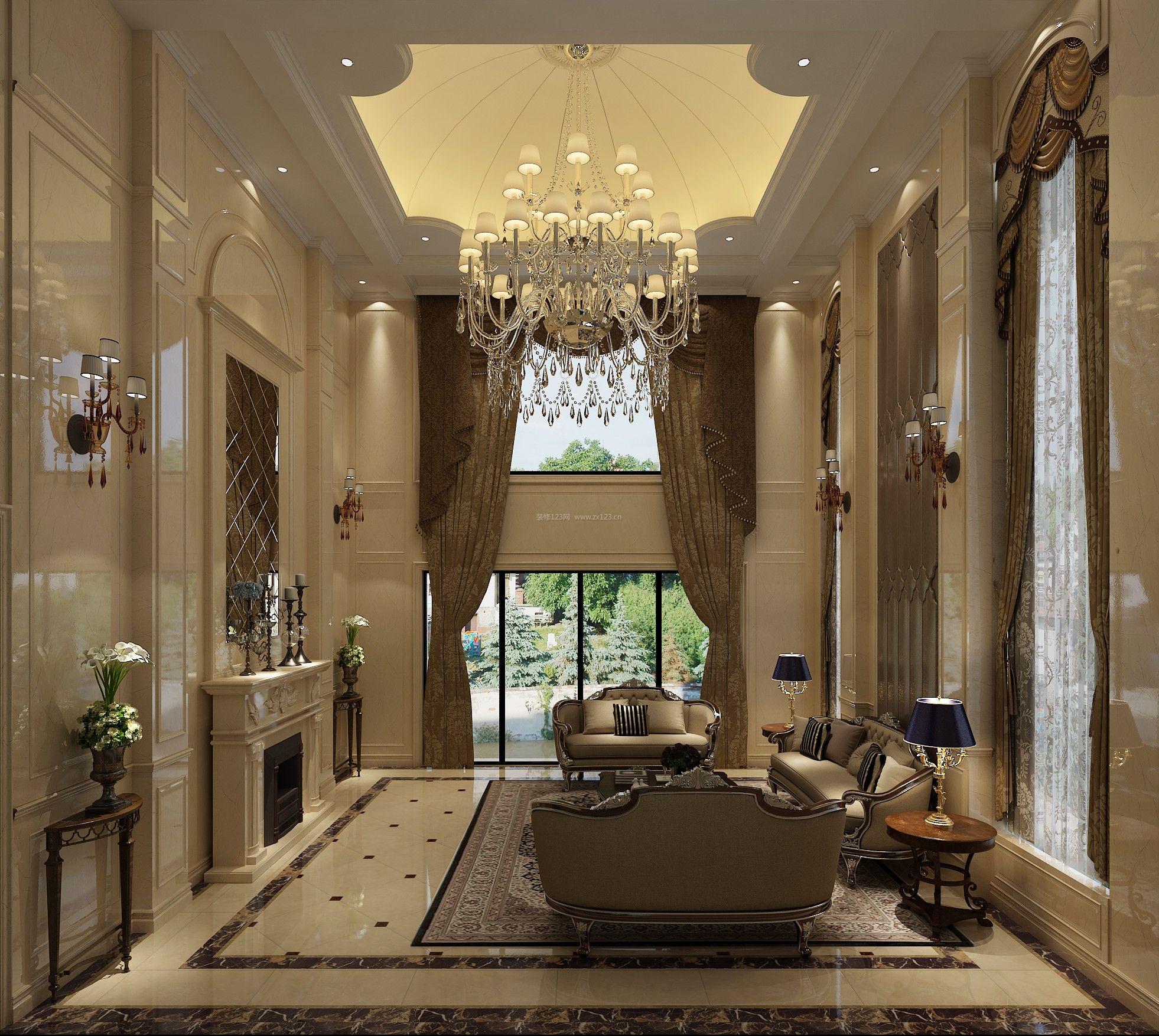 欧式别墅客厅吊灯装修效果图图片