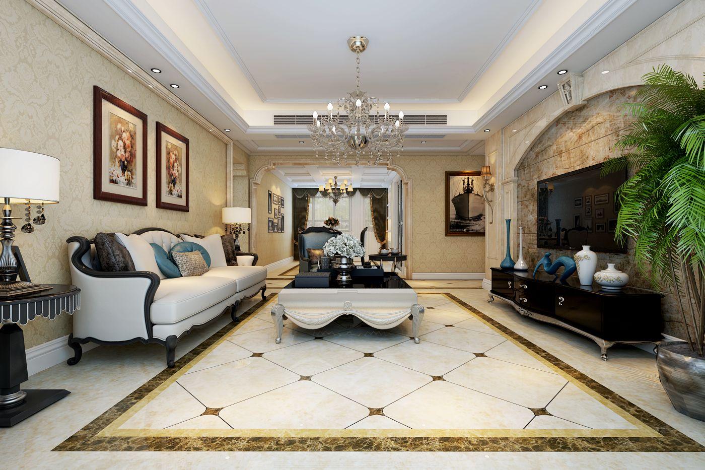 欧式别墅客厅电视墙设计装修实景图