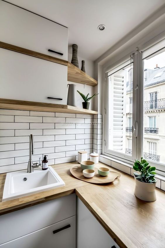10平米厨房木质台面装修效果图