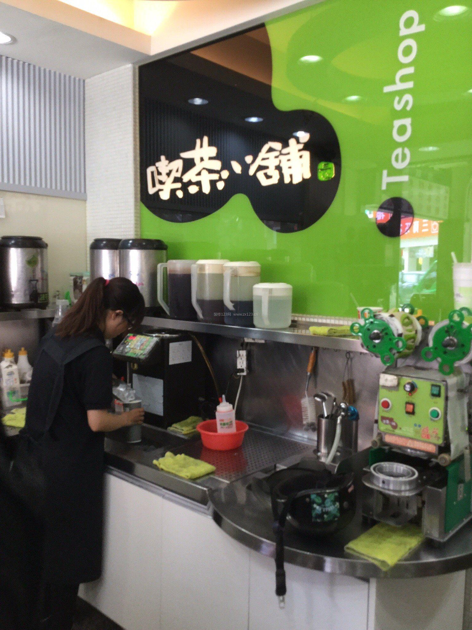 超市奶茶店简易背景墙装修效果图