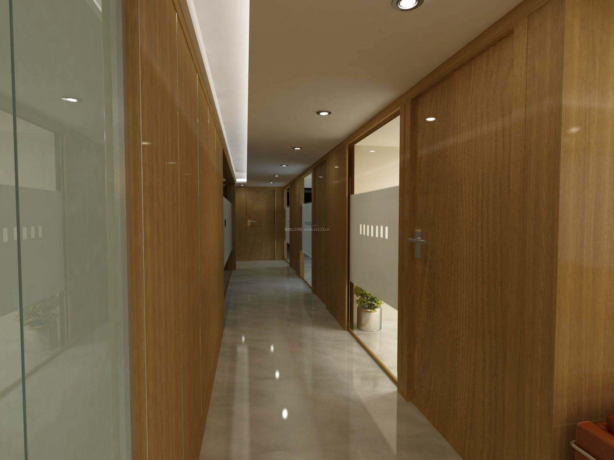 办公室走廊过道装饰效果图_装修123效果图