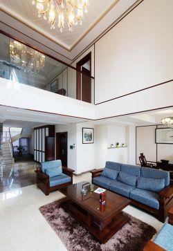 现代中式风格复式楼客厅灯具装修效果图图片