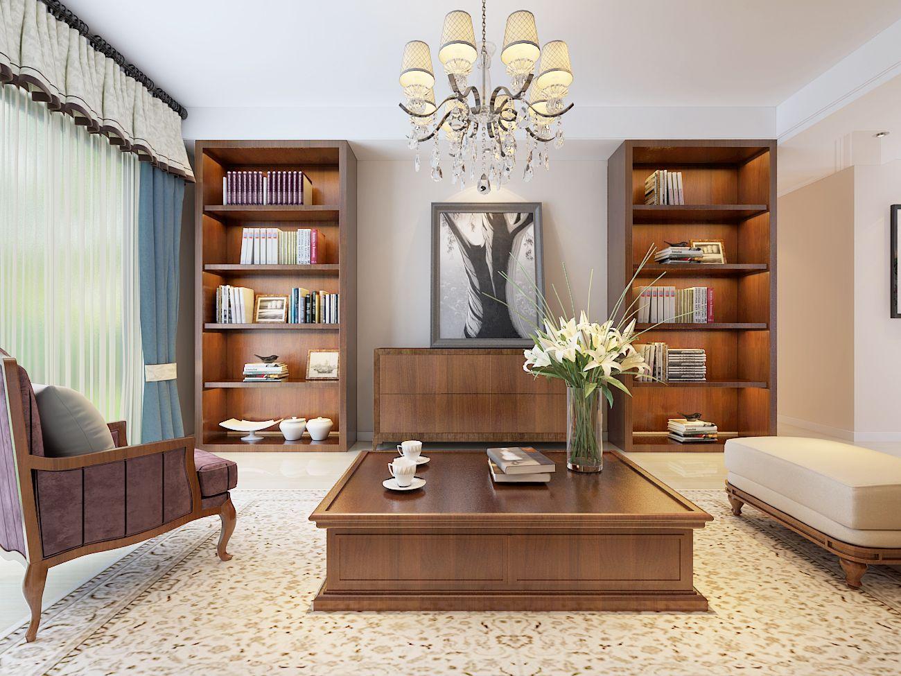 现代客厅书柜装修效果图片