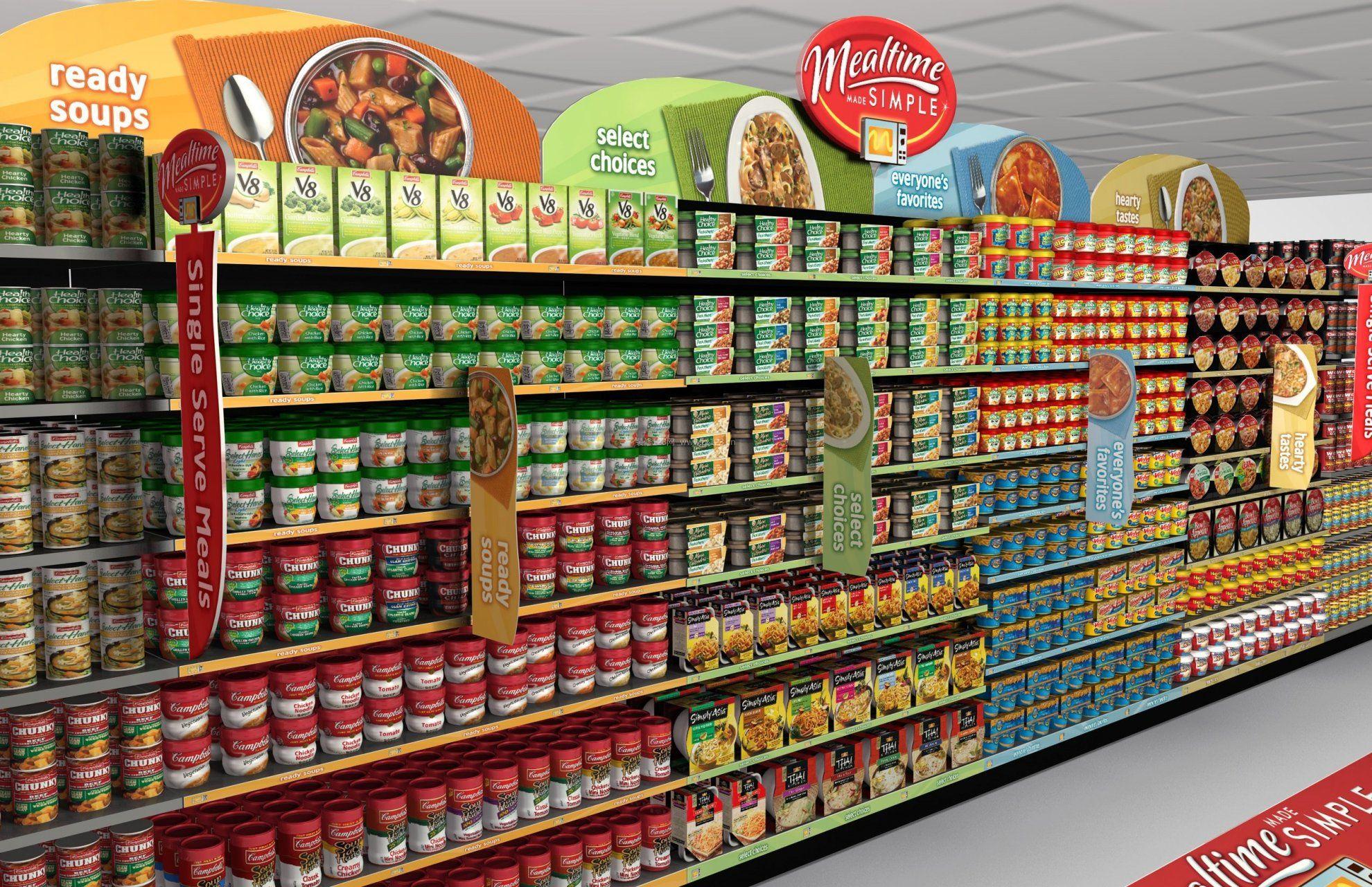超市货架陈列装修3d效果图图片