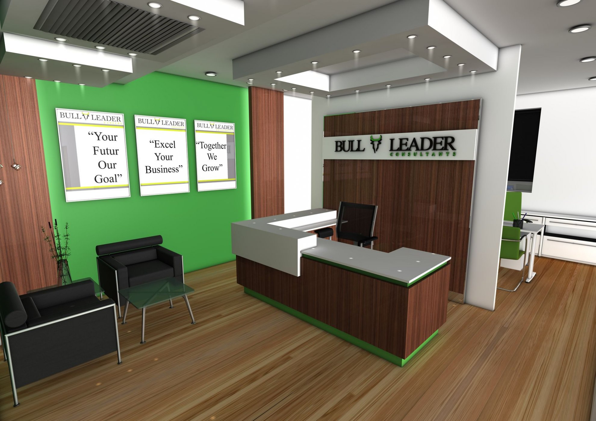 小型办公室前台布置装修图片