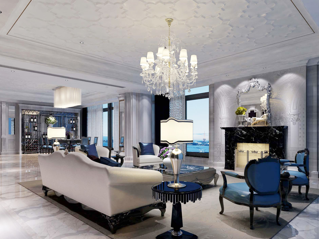 欧式家居装修客厅吊灯效果图片