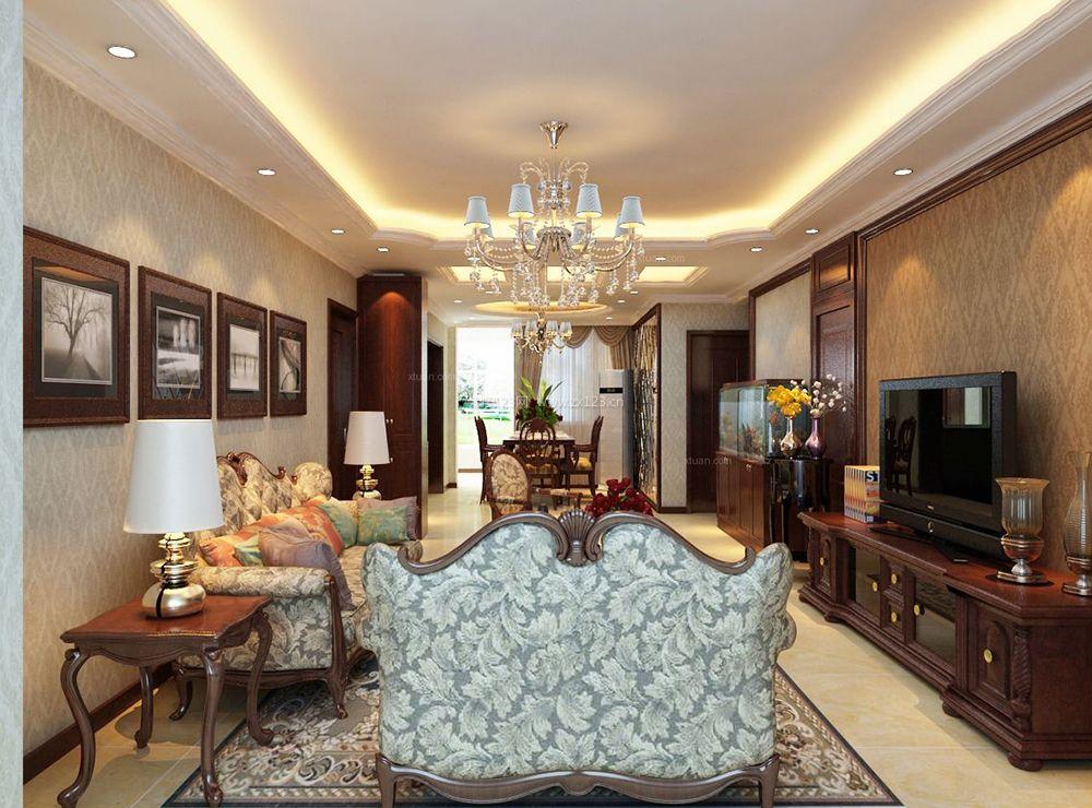 中欧混搭风格客厅沙发背景墙装饰画装修图片
