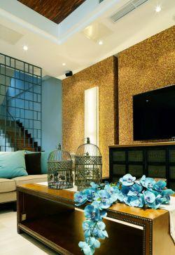 欧式跃层客厅电视背景墙装饰效果图